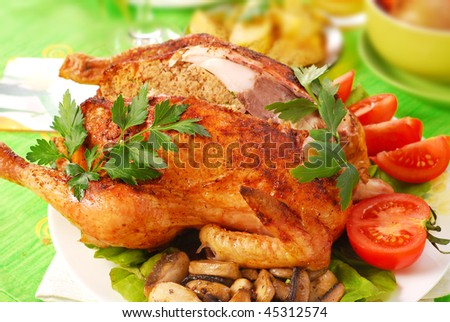 roasted chicken stuffed with liver and parsley for dinner