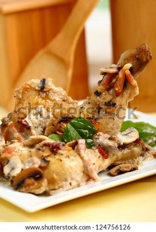 Roasted Chicken with Mushrooms and Bacon