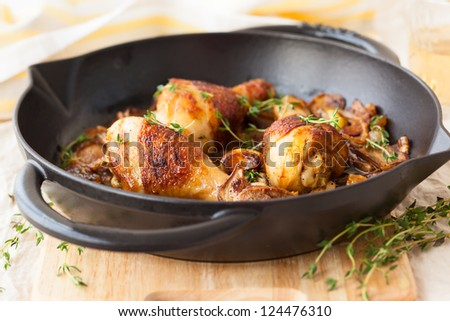 roasted chicken with mushrooms,onions and garlic