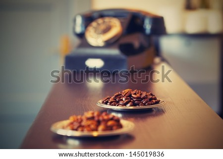 Roasted coffee bean in retro coffee shop - selective focus