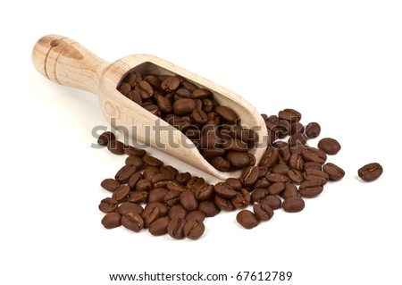 roasted coffee bean isolated on white