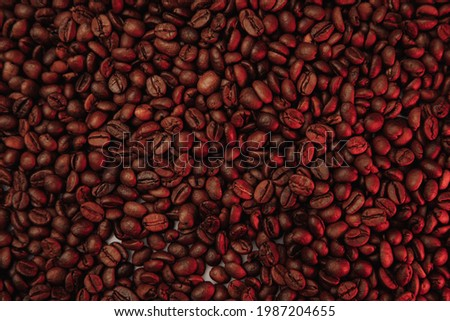 Roasted coffee beans background in red color Photo stock ©