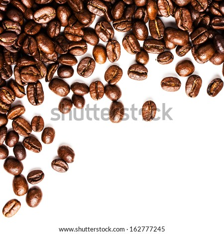 Roasted Coffee Beans Background Texture Isolated On White Background Frame With Copy Space For Text, Macro. Fragrant Fried Coffee Beans.
