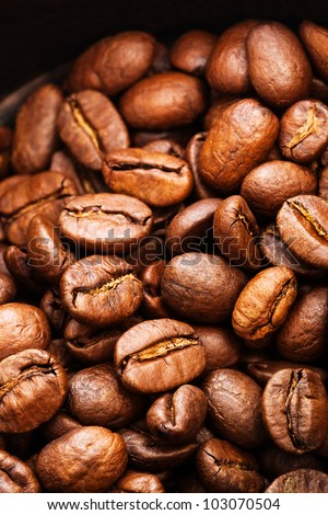 roasted coffee beans close-up as a background