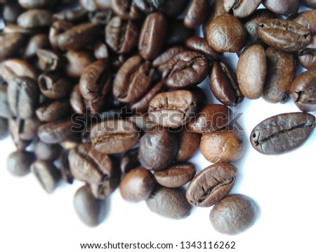 Roasted coffee beans, dark brown and light brown on a white background #1343116262