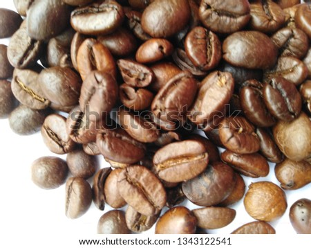 Roasted coffee beans, dark brown and light brown on a white background #1343122541
