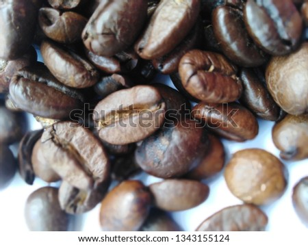 Roasted coffee beans, dark brown and light brown on a white background #1343155124