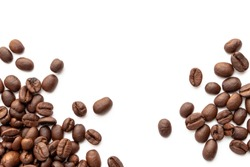 Roasted coffee beans for background with copy space area for text. Close-up image.