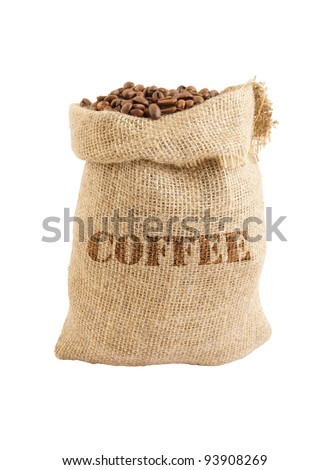 Roasted coffee beans in jute sack isolated on white