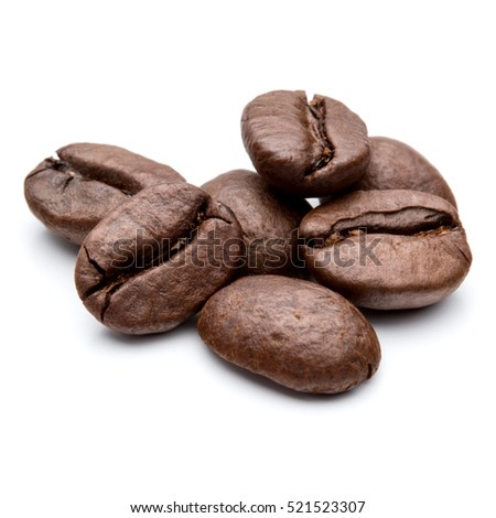 roasted coffee beans isolated in white background cutout #521523307