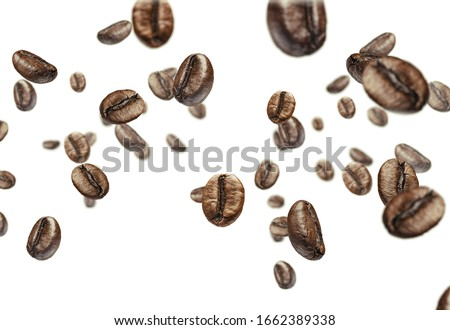 roasted coffee beans isolates on a white background