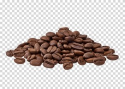 Roasted coffee beans pile on isolated background including clipping path.