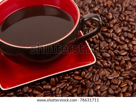 Roasted Coffee Beans Red Porcelain Cup and Saucer Food Drink