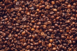 Roasted coffee beans texture background