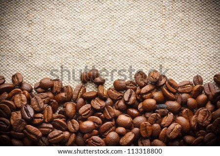 Roasted Coffee Border, Background - stock photo