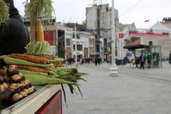 Roasted corn selling cart in the street,   letters With  KESTSNE Means chestnuts and letters With MISIR Means corn
