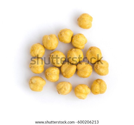 Roasted Crispy Chickpeas or Chana Snack with Salt Isolated on White Background