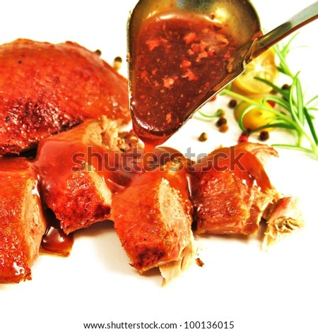 roasted duck breast and duck pieces