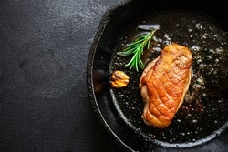 roasted duck breast grilled meat. Menu concept food background keto or paleo diet. top view. copy space for text