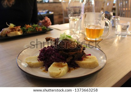 Roasted duck with cabbage and dumplings, The traditional czech food, The picture is taken in New Zealand