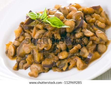 roasted eggplants and mushrooms - stock photo