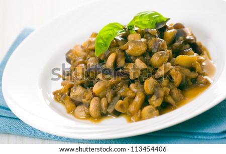 roasted eggplants and mushrooms