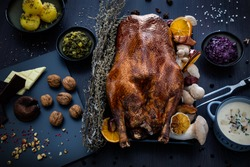 roasted goose with blurred background and decoration