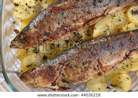 roasted  herring with cooked  potato