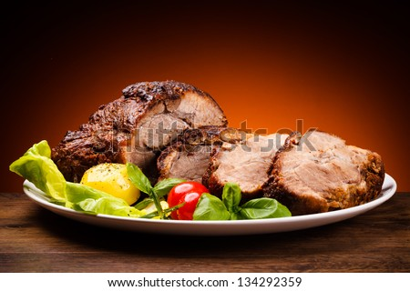 Roasted meat and vegetables #134292359