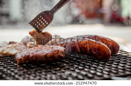 Roasted meat on the grill. Barbecue. Restaurant