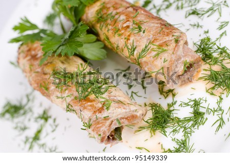 roasted meat rolls stuffed with fern and asparagus, macro