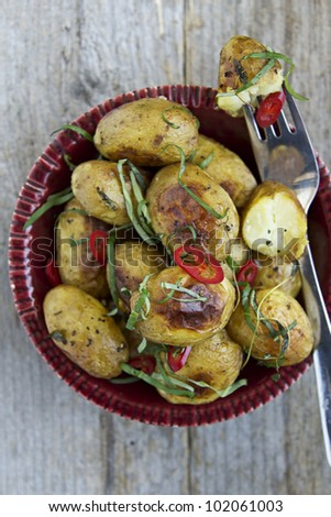Roasted New Potatoes with Basil and Chilli.