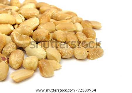 Roasted Peanuts on White Background
