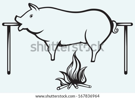 Roasted pig isolated on blue background. Raster version