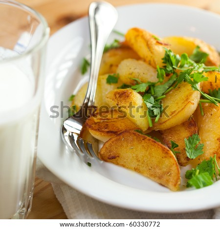 Roasted potatoes with herbs and butter milk