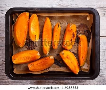 Roasted pumpkin on a baking tray