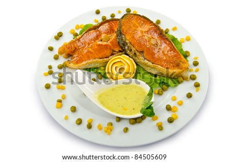 Roasted salmon in the plate