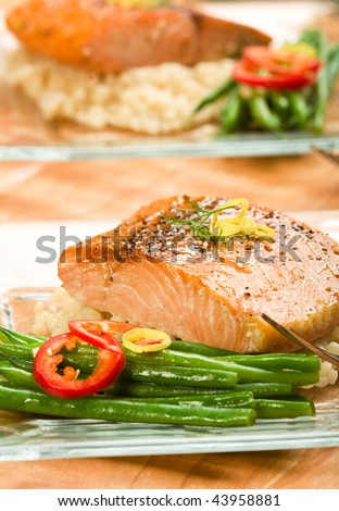 Roasted Salmon with pearl Israeli couscous and french green beans