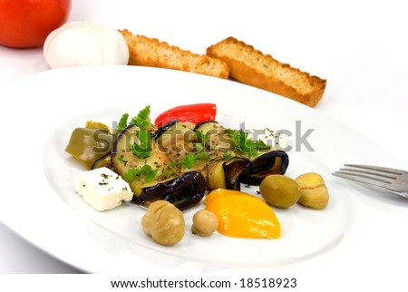 roasted slices of eggplant,chestnuts,vegetable