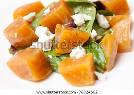 roasted sugar beet salad with spinach, lettuce and goat cheese chevre