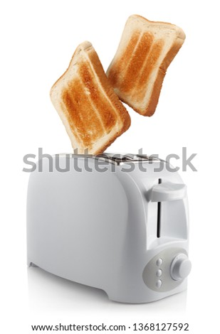 Roasted toasts popping out of a white toaster, isolated on white background #1368127592
