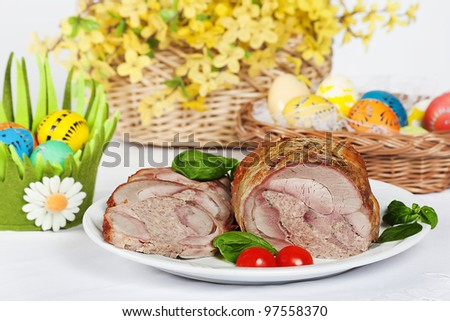 roasted turkey and easter egg and flowers decoration
