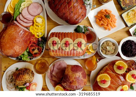 Roasted turkey and Ham for Festive dinner, Christmas dinner, Holiday table, Thanksgiving day celebration  #319685519
