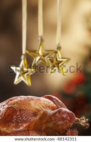 roasted turkey and  the christmas decoration star