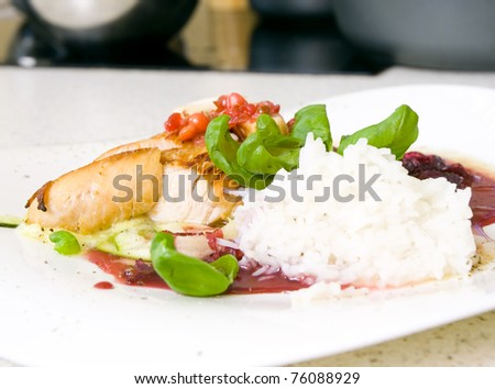 roasted turkey fillet with cranberry sauce and rice