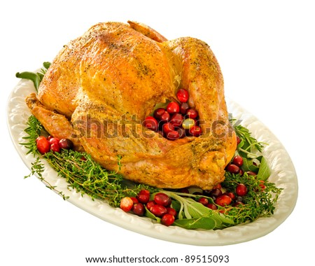 Roasted turkey stuffed with cranberries and herbs for Thanksgiving or Christmas dinner isolated on white