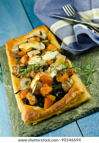 roasted vegetables with creamed spinach and goats cheese puff pastry ...