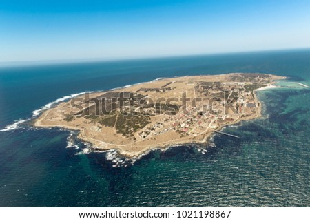 Robben Island Aerial South Africa, the island where Nelson Mandela was held prisoner. #1021198867