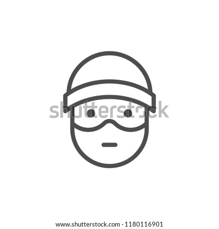 Robber line icon isolated on white