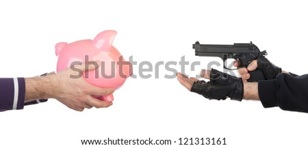 Robber with gun taking piggy bank from victim against a white background